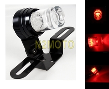 Universal Custom Motorcycle Brake Light Rear LED Tail Light For Chopper Bobber Cafe Racer Clear Cup Red Light Mini Bracket