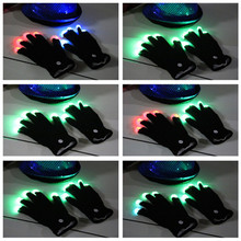 100pcs=50pairs Fashion led gloves toy finger lighting gloves for dancer unisex night party cosplay wear cotton gloves toy
