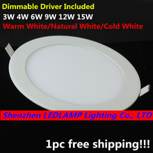 Dimmable LED Downlight Ceiling Panel Light with driver AC110V/220V 3W/4W/6W/9W/12W/15W Recessed LED Ceiling Down Light free ship