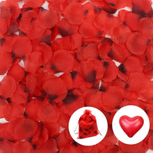WXBOOM 2500 pcs Dark Red Silk Rose Petals Wedding Flower Decoration, with 10 Heart-shaped Balloons & 1 Drawstring Storage Pouch(China)