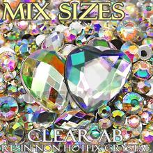 1500Pcs/Lot Mix Sizes Clear AB Black Round Acrylic Resin Non Hotfix Flatback Rhinestone 2mm 3mm to 6mm for 3D Nail Art Crystal