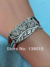 2013 New Arrival Silver Alloy Owl Accessories Multicolor Suede Leather Hemp Wrap Cuff Bracelet Fashion Women Men Costume Jewelry