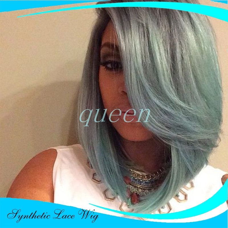 Fashion Ombre Dark Green Straight Short Bob Synthetic Lace Front Wig Natural Black/Turquoise Heat Resistant Hair Women Wigs<br><br>Aliexpress