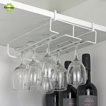 Stainless Steel Goblet Glass Wine Cup Holder Under Cabinet Wall Wine Glass Racks Hanging Storage Stemware Racks 1/2 Row Hange(China)