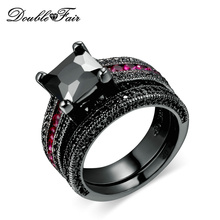 Double Fair Black Square Crystal Red Cubic Zirconia Rings Sets Black Gold Color Engagement/Wedding Fashion Women Jewelry DFR696