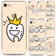 Lovely Tooth Love Heart Design Soft Phone Case for iPhone 7 4.7inches Ultra Thin Transparent Clear Silicone Cover Coque Capa