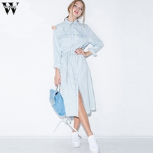 New Fashion Dress European and American Leisure waist shirt dress classic make old cowboy dress Sept5