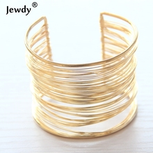 Sunshine Fashion Punky Style Hollow Cuff Retro Braid Big Gold color Bangles For Women Charm vintage Multilayer Wide Bracelet