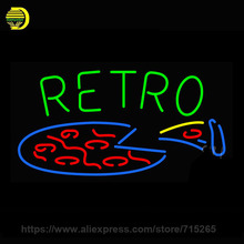 Retro Pizza Neon Sign Beer Bar Pub Decorate Glass Tube Neon Bulb neon light sign Super Lamp Metal Frame Sign shop Display 19x10(China)