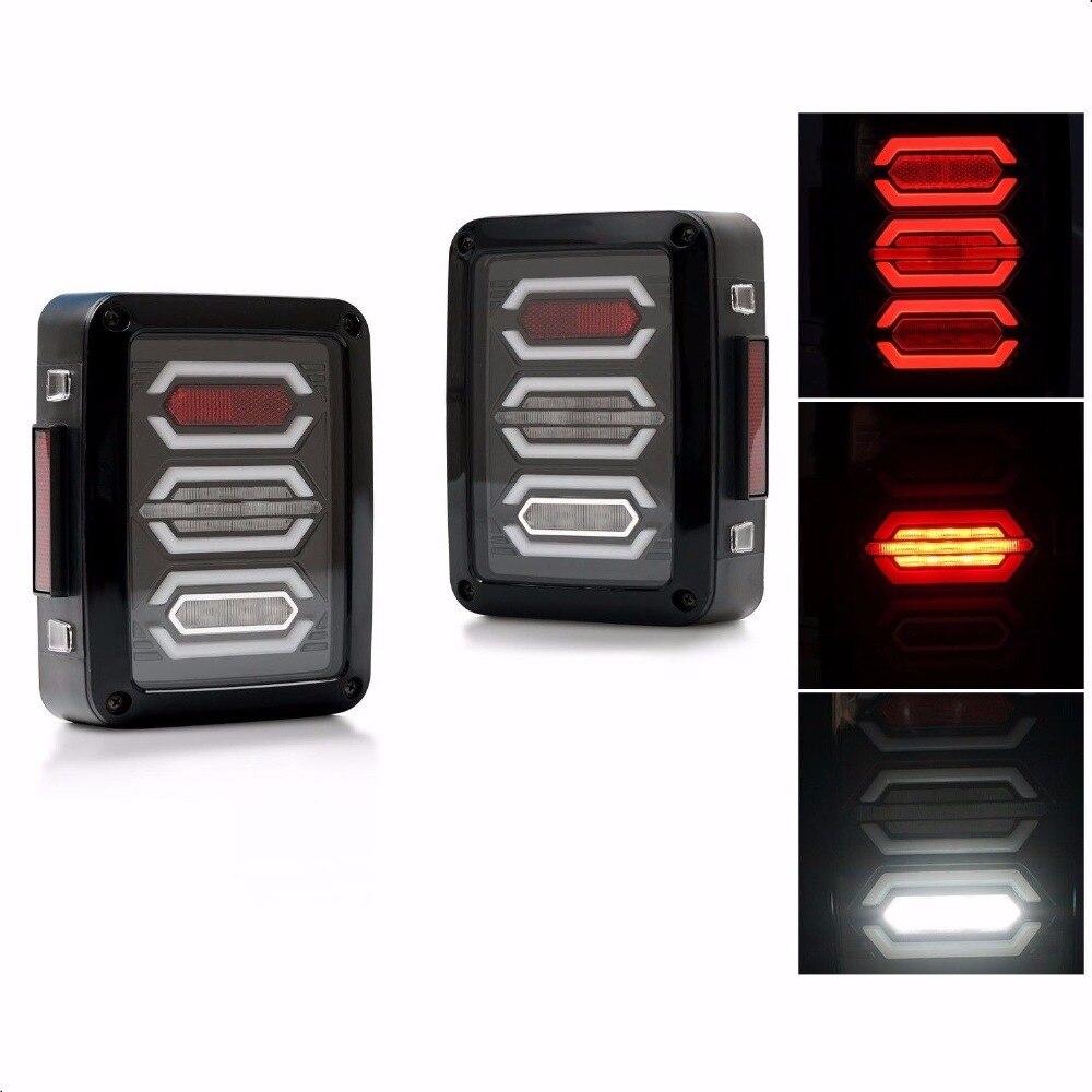 LED Tail Lights for JK 2007-2016 Wrangler with Running Brake Backup Reverse Turning Signal Light Tail Lamp Assembly Left + Right<br>