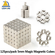 125pcs/set 5*5*5mm Magic Magnetic Cubes/Strong Rare Earth DIY Puzzle Magnets Addictive Magnetic Desktoy(China)
