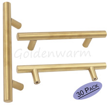 Goldenwarm LS201GD128 Hole Spacing 128mm Kitchen Cabinet Handles Gold Cupboard Drawer Pulls Stainless Steel 30Pack
