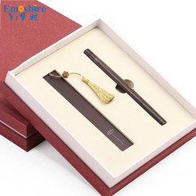 Wooden Signature Pen Set Retro Business Office Gift Redwood Bookmark Pen Chinese Style Creative Gift Customization M019