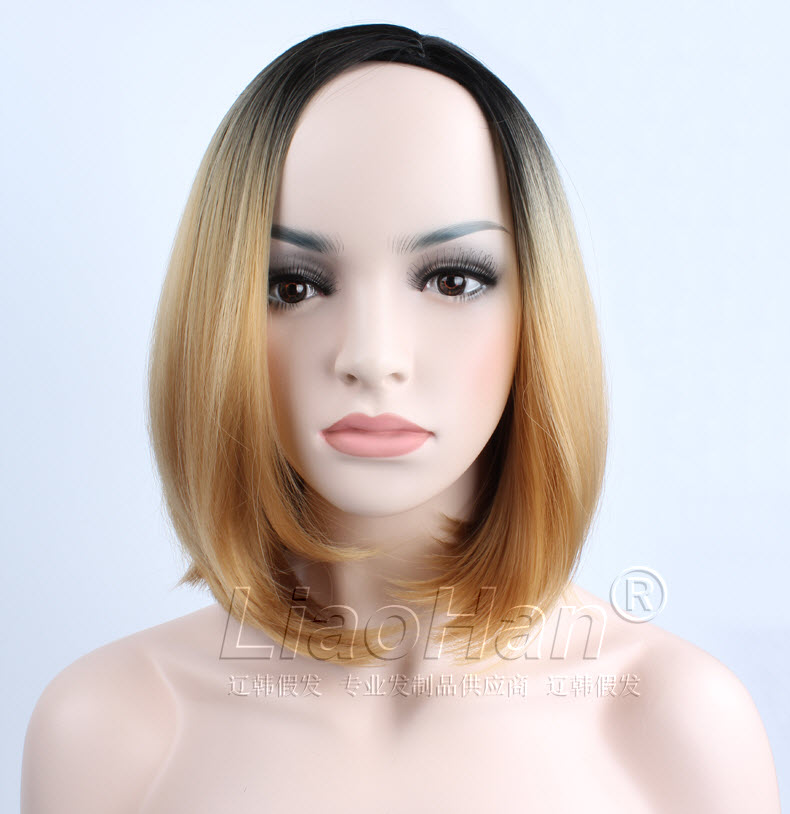 2017 Fashion Short Wig Two Tone Ombre Color Short Hair Bob Wig Synthetic Wigs for Women Black to Light Brown Wig<br><br>Aliexpress