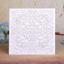 120PC Romantic Beige gold  Outside card  Lace Envelope Delicate Carved Flowers Wedding Invitations Card favors Wedding Decor