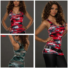 1X Ladies vest No Belt Women Army Shirt New 2017 Top Clubbing Camouflage Party Vest Sexy Ladies(China)