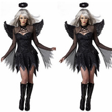2017 NEW Women Sexy Black Devil Demon Angel Cosplay Costume Fancy Dress Halloween Outfit Wing Headband