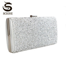 Scione Women Evening Bag Luxury Black/Silver Wedding Party Bag Diamond Rhinestone Clutches Crystal Bling Gold Clutch Bag Purses(China)