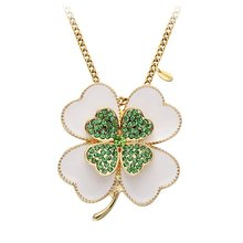 Senfai Green Crystal White Enamel 4 Heart Grass Pendant Heart Necklace lucky Grass Crystal Fashion Jewelry Girls Best Choice(China)