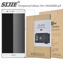 SIJIE Tempered Glass For HUAWEI p9 0.26mm Screen Protector protective front stronger 9H discount with Retail Package Hard BOX