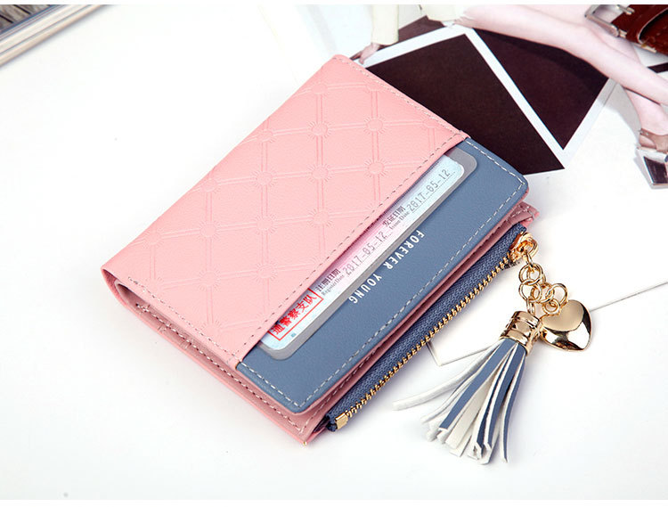 2018 Fashion Ladies Wallet Female Short Zipper Coin Purse Small Wallets Young Womens Tassel Hasp Purses Button Card Holder Pouch 69