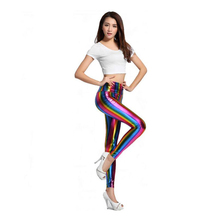 New Arrival Colorful Rainbow Printed Sexy Slim Women Leggings Bright Imitation PU Leather Leggings for promotion sales(China)
