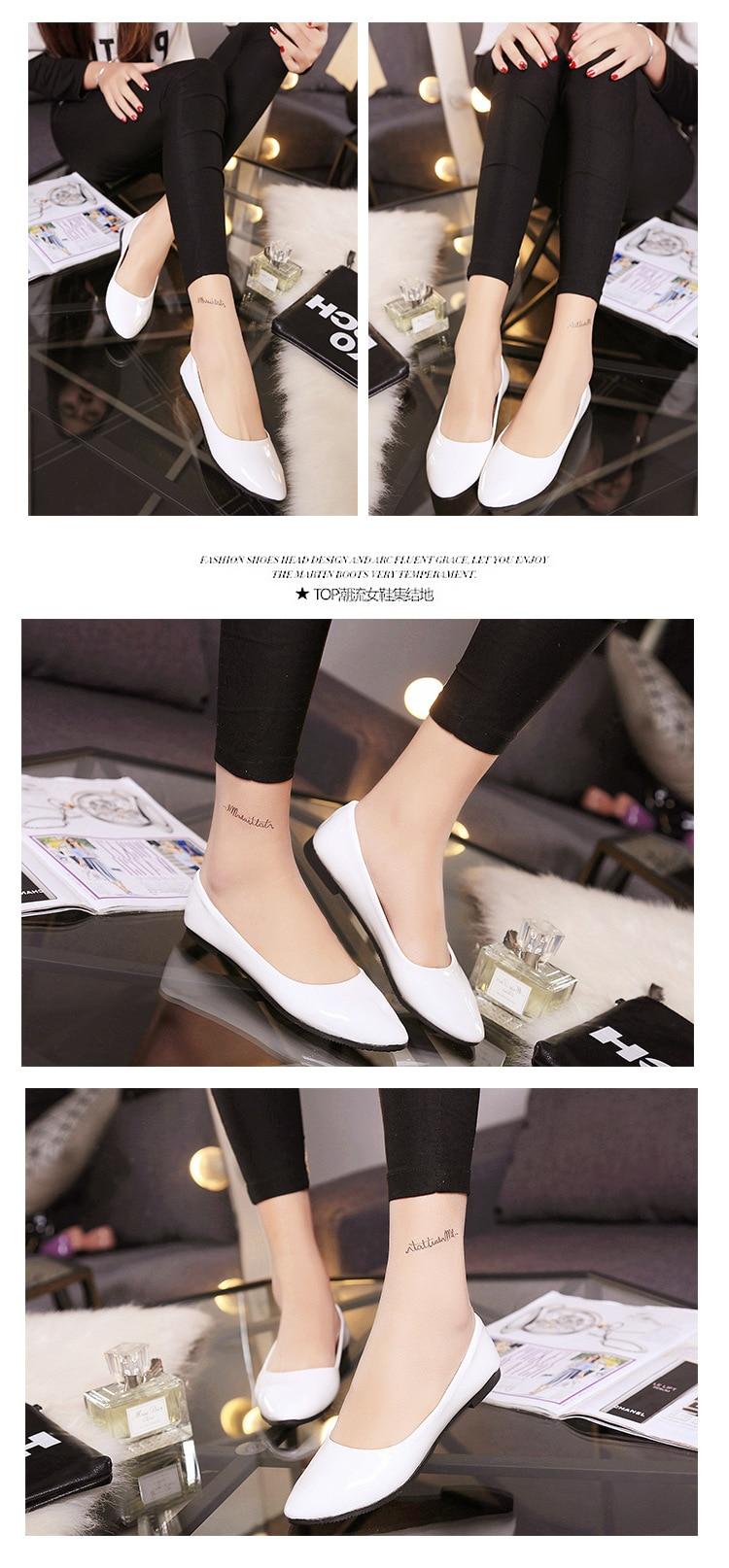 2018 Pu En Cuir Verni Chaussures Femme Chaussures Simples 2