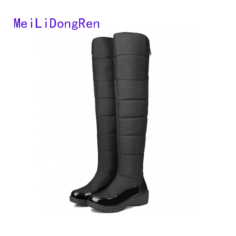 2017 High Quality Winter Shoes Women Knee High Boots Waterproof Cotton-padded Female Snow Boots Flats Long Boots botas femininas<br>