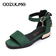 COZULMA Children Roman Sandals For Girls Flock Princess Flat Shoes Summer Style Breathable Girls Sandals Little Kids Party Shoes