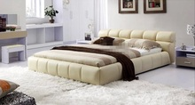 modern genuine leather bed white China bedroom furniture contemporary King size