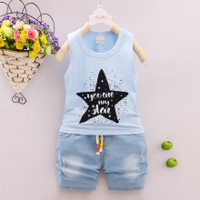 New summer Baby boy Clothing Set stars printing vest+Denim Pant 2Pcs Girls boys kid Clothes Fashion Denim children clothing sets