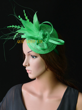 NEW 20 colours Mint green feather fascinator bridal fascinator sinamay hat for Races  Kentucky derby Tea Party.FREE SHIPPING