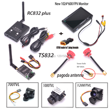 TS832 RC832 plus Transmitter and Receiver 5.8G 600mW 48CH Wireless AV 7inch LCD TFT FPV 1024 x 600 Monitor Pagoda Antenna RP SMA(China)