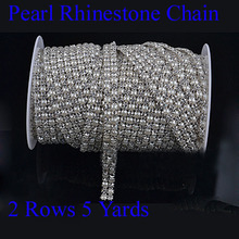 2 Rows X 5 Yards Good Quality SS19 Crystal Clear Sew On Rhinestone Trimmings With 5mm Pearl(Hong Kong)