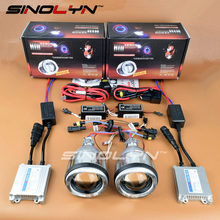 SINOLYN Motorcycle Angel Eyes Halo HID Bi-xenon Projector Lens Headlights Retrofit Kit For Yamaha R1 R6 R15 FZ1 FZ6 CBR600RR