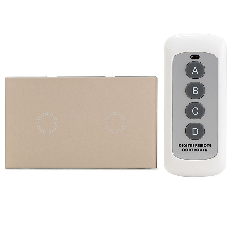 EU/UK Standard 2 Gang 2 Way Remote Control Switch, Smart Wall Light Switch, Touch Light Switch For Smart Home High Quality<br><br>Aliexpress