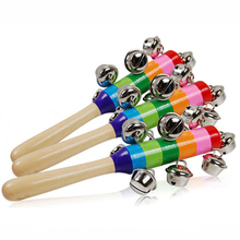2016 New Baby Rattle Rainbow Toy kid Pram Crib Handle Wooden Bell Stick Shaker Rattle Baby Gift