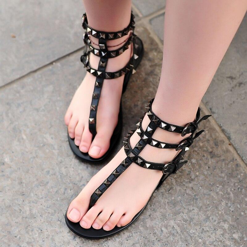 Women Summer Shoes Rivet Ankle Straps Flat Sandals T-Strap Beach Slippers Fashion Valentine Sandals Red/Black Thong Sandal<br><br>Aliexpress