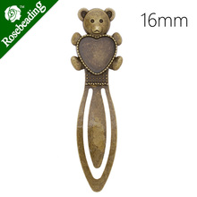 High Quality Vintage Antiqued Bronze Bear Bookmark with 16mm Heart Bezel,length:80mm,10pcs/lot-C4234(China)