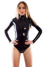 Buy High Neck Shoulder Zip Entry Latex Leotard Sexy Latex Swiming Suit Latex Rubber Leotard 0.4MM Thickness Shoulder Zipped