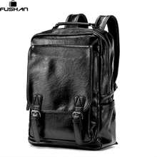 New Arrival Vintage Men PU Leather Backpacks Large Capacity Zipper Solid Backpack for Teenagers High Quality Black Shoulder Bags(China)