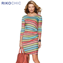 Vintage Style Rainbow Print Women Dresses 2016 Autumn Designer Draped Striped Long Sleeve Ladies Work wear Office Dresses G125