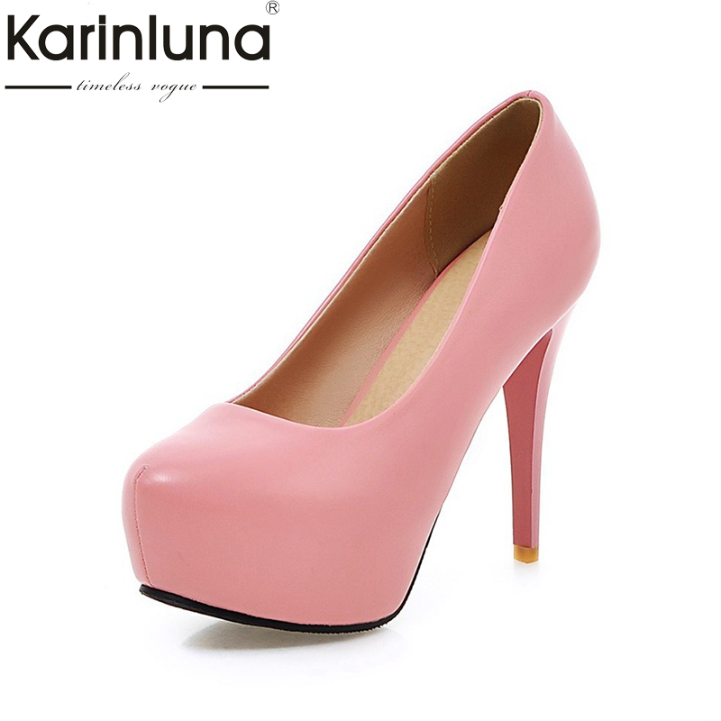 KARINLUNA  2017 brand shoes woman large sizes 33-45 platform sexy women shoes thin high heels party wedding pumps women<br>