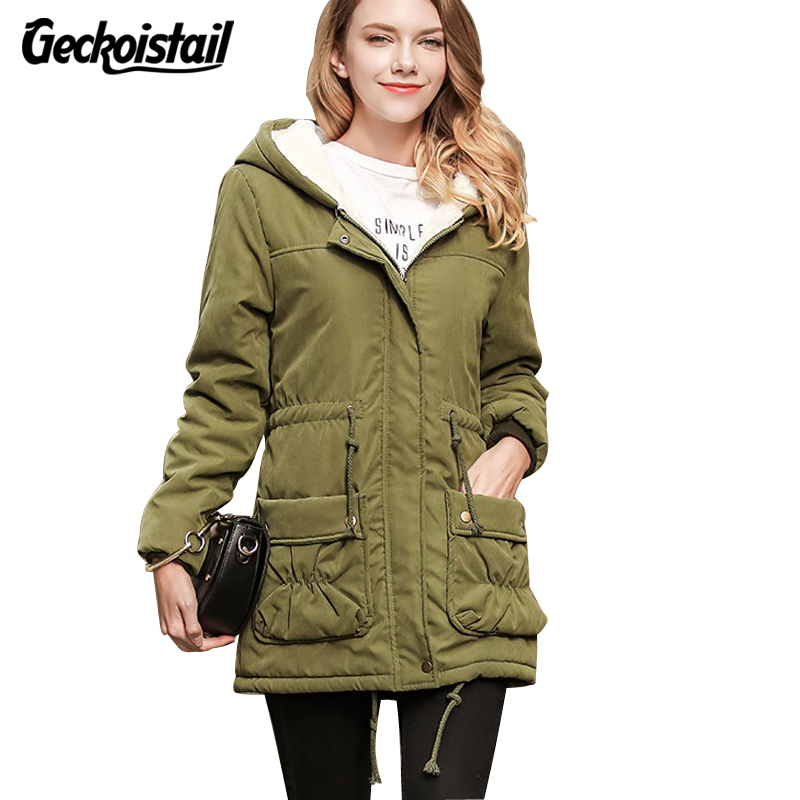 Geckoistail Winter Womans Parkas Coat Long Sleeve Plus Size Fashion Warm Jackets Slim Woman Hoodies Cotton Casual Cotton OutwearÎäåæäà è àêñåññóàðû<br><br>