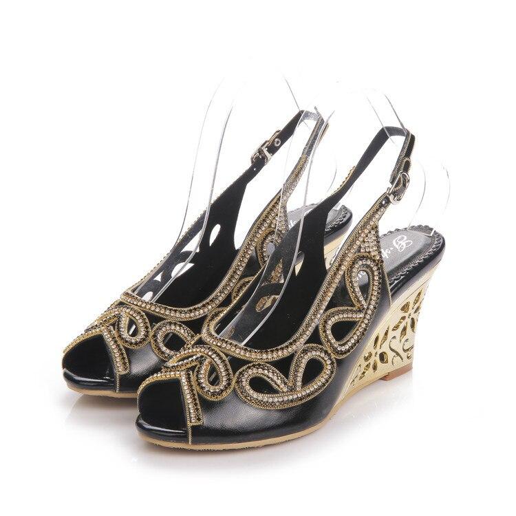 2017 Summer New Diamond Fashion Womens Black Peep Toe Wedges Bridal Sandals Wedding Shoes High Heels Cause Footwear-5