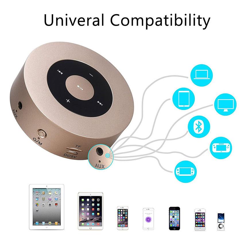 Aimitek Portable Bluetooth Speaker Touch Screen Mini Wireless Stereo Speaker Champagne-6