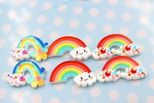 10pcs/lot flat back resin crafts resin cabochons accessories kawaii resin rainbow mix colors(China)