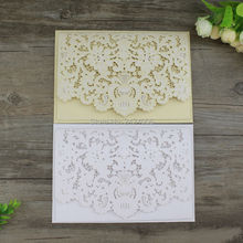 50 Sets/lot Gold Wedding Idea 2016 Luxury Embossed Laser Cut White Wedding Cards Indian