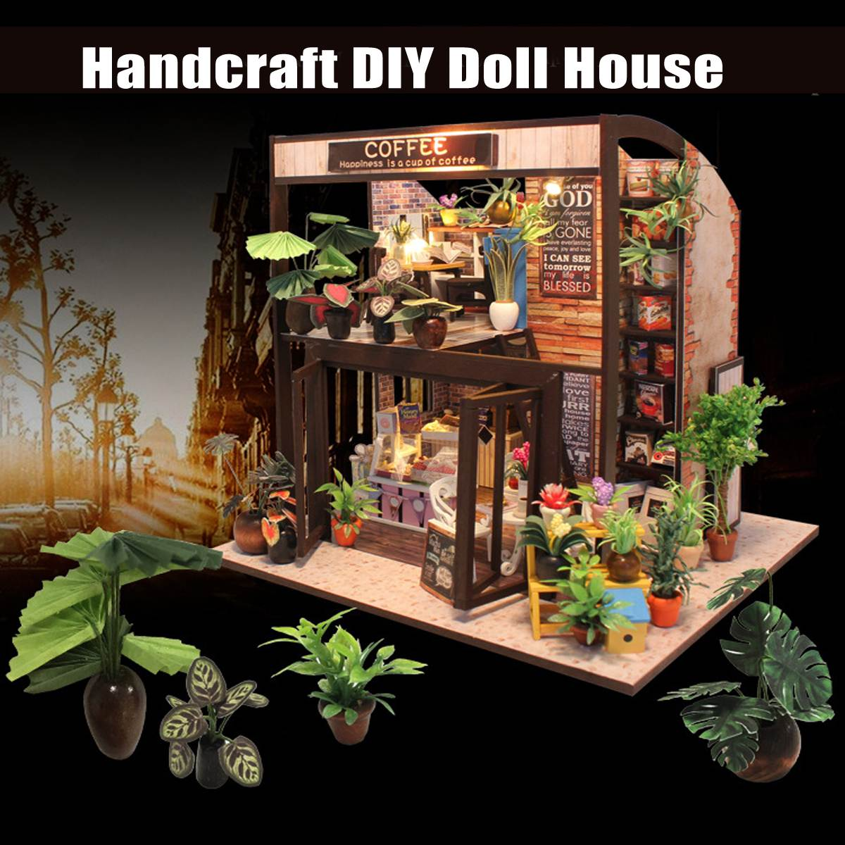 Handcraft DIY Doll House Time Cafe Toy Wooden Miniature Furniture LED Light Gift High Quality<br>
