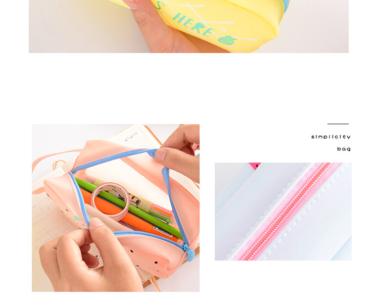 Large Bag Pencil Case For Student Girl  Cute School Stationery Supplies Gift Big Kawaii Silicone Cartoon Fruit Pen Box Zipper 1 (12)1